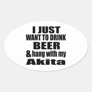 Akita Dog Designs Oval Sticker