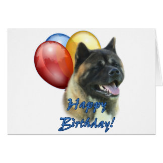 Akita Happy Birthday Balloons Card