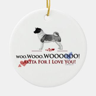 Akita I Love You Ornament