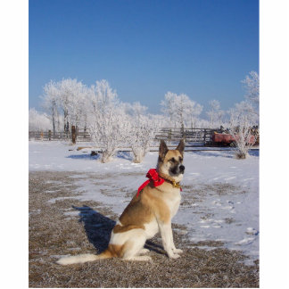 akita in snow photo sculpture keychain
