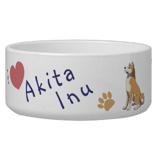 Akita Inu bowl with name Pet Water Bowls