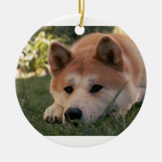 Akita Inu Dog Deep Thoughts Ceramic Ornament