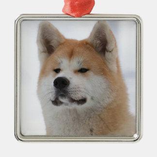 Akita Inu Dog Looking Serious Metal Ornament