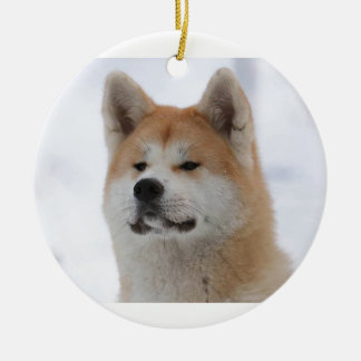 Akita Inu Dog Looking Serious Round Ceramic Ornament