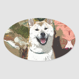 Akita Inu Dog Oval Sticker