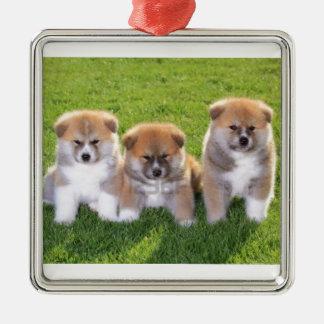 Akita Inu Dog Puppies Metal Ornament
