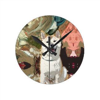 Akita Inu Dog Round Clock