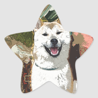 Akita Inu Dog Star Sticker