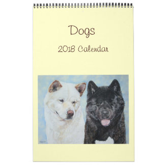 akita labrador collie dog portrait art 2018 wall calendars