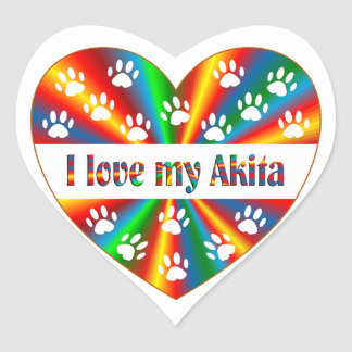 Akita Love Heart Sticker