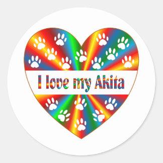 Akita Love Round Sticker