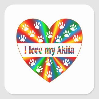 Akita Love Square Sticker