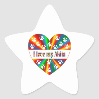 Akita Love Star Sticker