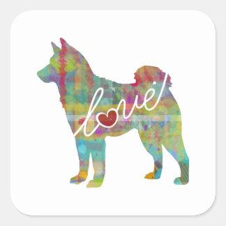 Akita Love - Watercolor Square Sticker