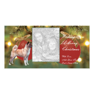 Akita Ornament Christmas Photocard Card