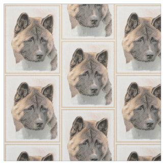 Akita Painting - Cute Original Dog Art Fabric