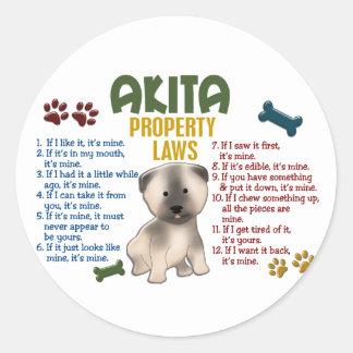 Akita Property Laws 4 Round Sticker