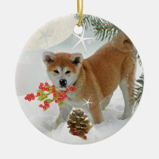 Akita Puppy Winter Play Ceramic Ornament