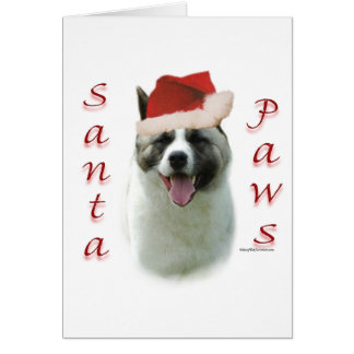 Akita Santa Paws Card