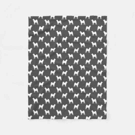 Akita Silhouettes Pattern Grey Fleece Blanket