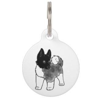 akita silver black overlay cartoon pet ID tag