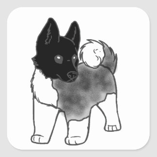 akita silver black overlay cartoon square sticker
