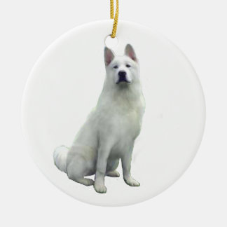 Akita - White Ceramic Ornament