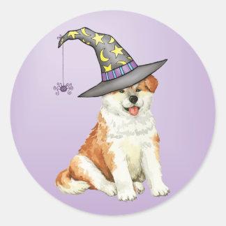 Akita Witch Round Sticker