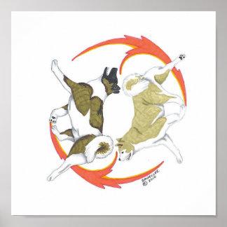 akita yin and yang poster
