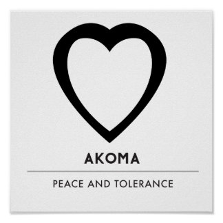Akoma | Symbol for Patience and Tolerance White Poster
