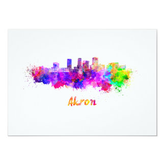 Akron OH skyline in watercolor Card