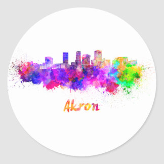 Akron OH skyline in watercolor Classic Round Sticker