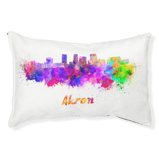 Akron OH skyline in watercolor Pet Bed