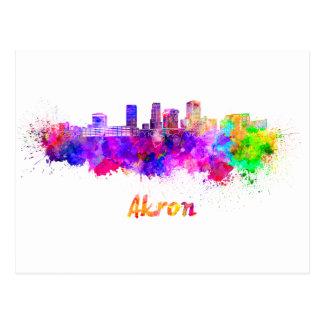 Akron OH skyline in watercolor Postcard