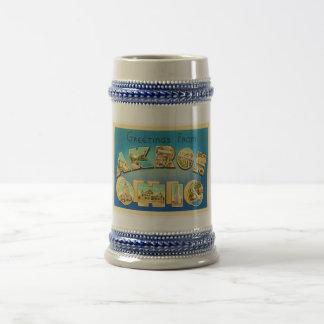 Akron Ohio OH Old Vintage Travel Souvenir Beer Stein
