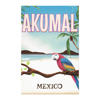 Akumal Mexico Beach travel postr Canvas Print