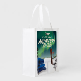Akureyri Iceland travel poster Reusable Grocery Bag