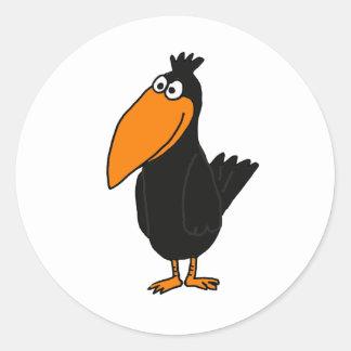 AL- Funny Crow Design Round Sticker