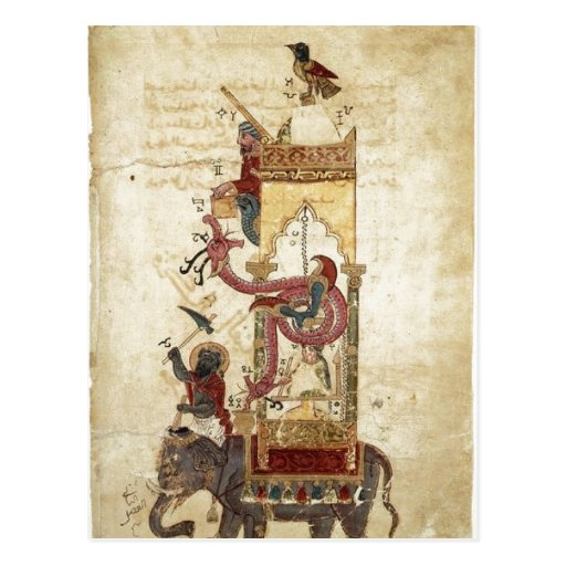 Al-Jazari: The Elephant Clock (mechanical clock, w Post Cards