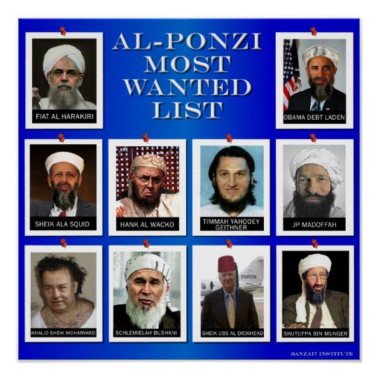 "AL-PONZI MOST WANTED LIST ""BLUE"" POSTER"