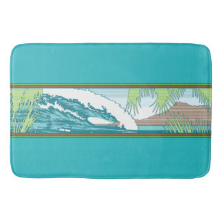 Ala Moana Diamond Head Hawaiian Surf Sign Bath Mat