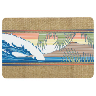 Ala Moana Diamond Head Hawaiian Surf Sign Orange Floor Mat
