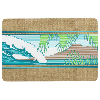 Ala Moana Diamond Head Hawaiian Surf Sign Teal Floor Mat
