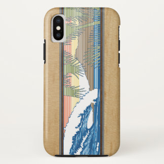 Ala Moana Hawaiian Faux Koa Wood Surf Sign iPhone X Case