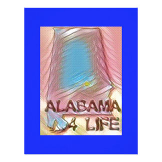 "Alabama ""4 Life"" Digital State Map Painting Customized Letterhead"