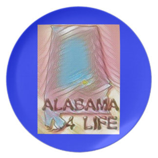 "Alabama ""4 Life"" Digital State Map Painting Plate"