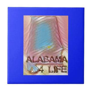 "Alabama ""4 Life"" Digital State Map Painting Tile"