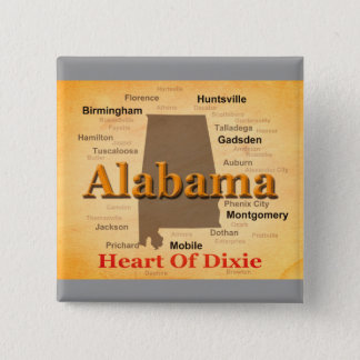 Alabama Aged Map Silhouette 2 Inch Square Button