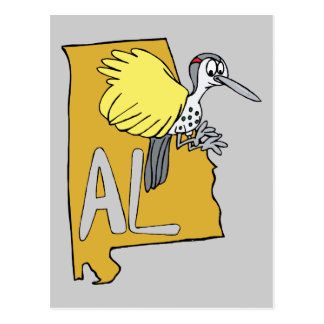 Alabama AL Map & Yellowhammer Woodpecker Cartoon Postcard