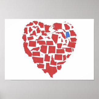 Alabama American States Heart Mosaic Red Poster